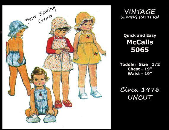 Vintage McCalls 5065, Toddler Baby Size 1/2, Sweet Sunsuit, Dress ...