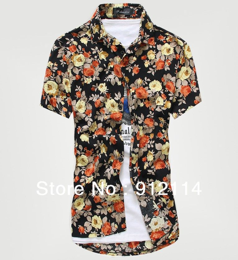 2013 new fashion summer korean style men's floral shirts, caual ...