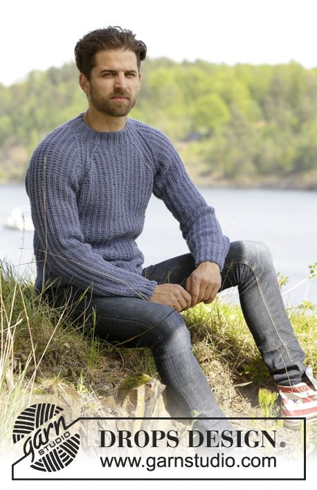 Knitted DROPS men\'s jumper with textured pattern and raglan in Nepal ...