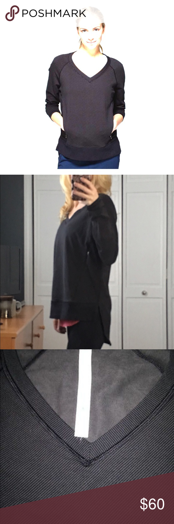 Lululemon After Asana Pullover Great loose fitting sweatshirt. No visible signs of wear and tear. Gently used. Covers your butt! Lulu logo in back on bottom left🍋 lululemon athletica Tops Sweatshirts & Hoodies