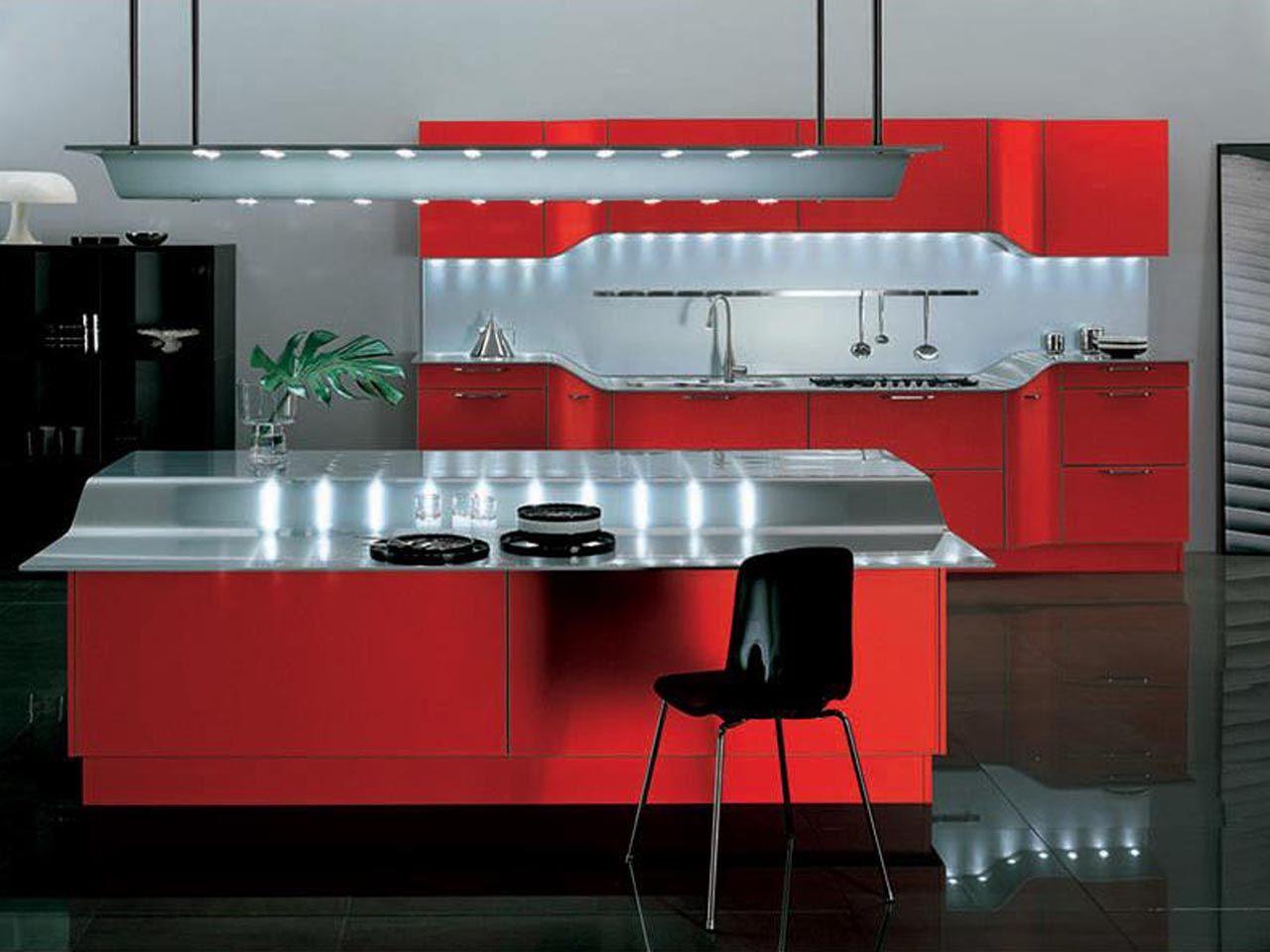 Red and black kitchen cabinets - Beautiful Red Venus Kitchen Design Snaidero