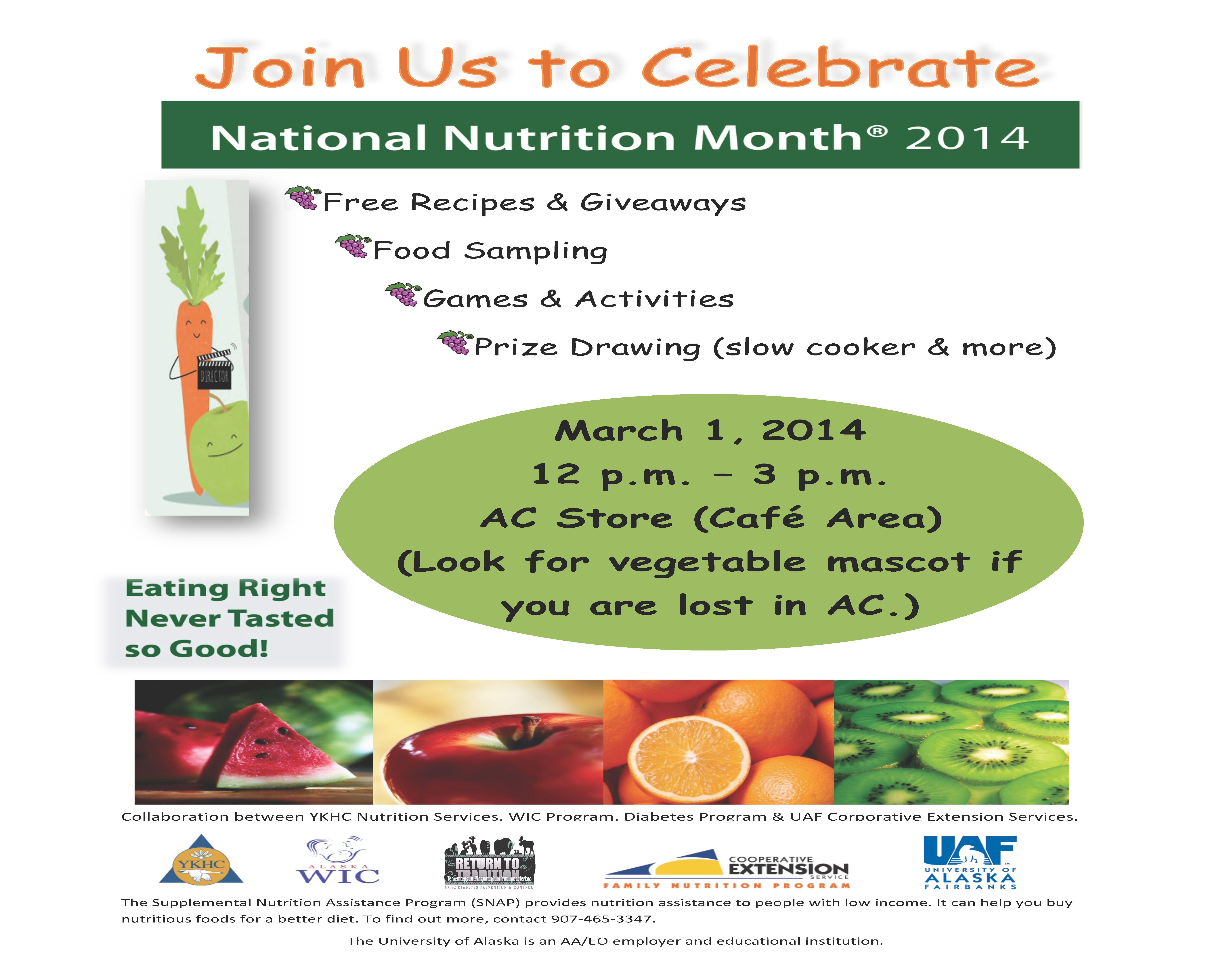 March 1 National Nutrition Month Celebration In Tok National Nutrition Month Nutrition Month Food Sampling