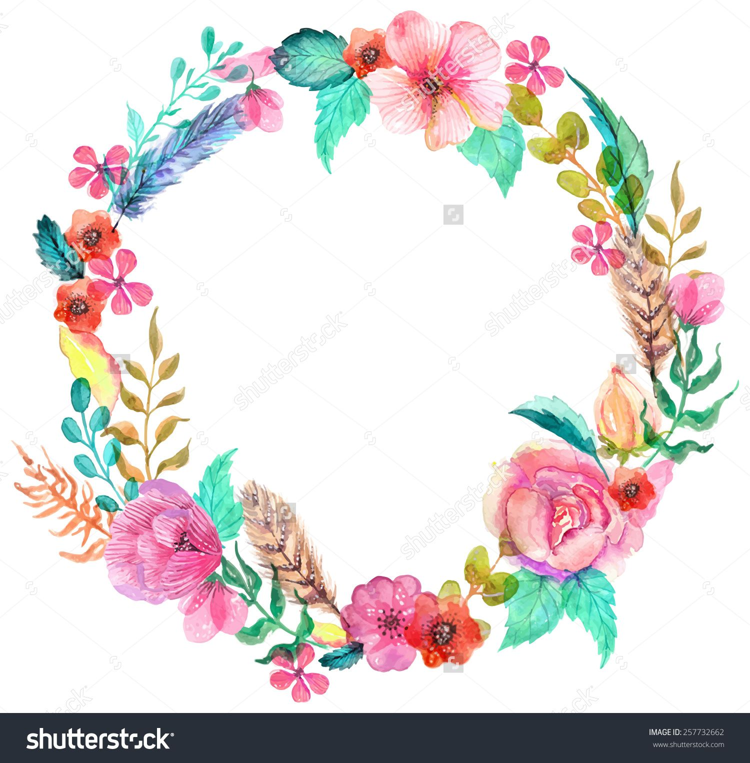 Flower Watercolor Wreath For Beautiful Design Stock Photo