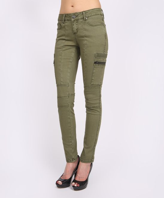 090bb4ea55a9b This Olive Super Stretch Motor Zip Jeggings is perfect! #zulilyfinds ...