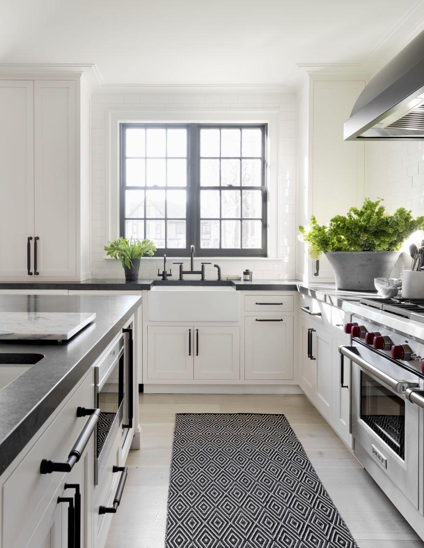 White Kitchen Cabinets With Black Hardware Layjao White Modern Kitchen Trendy Farmhouse Kitchen Kitchen Black Counter
