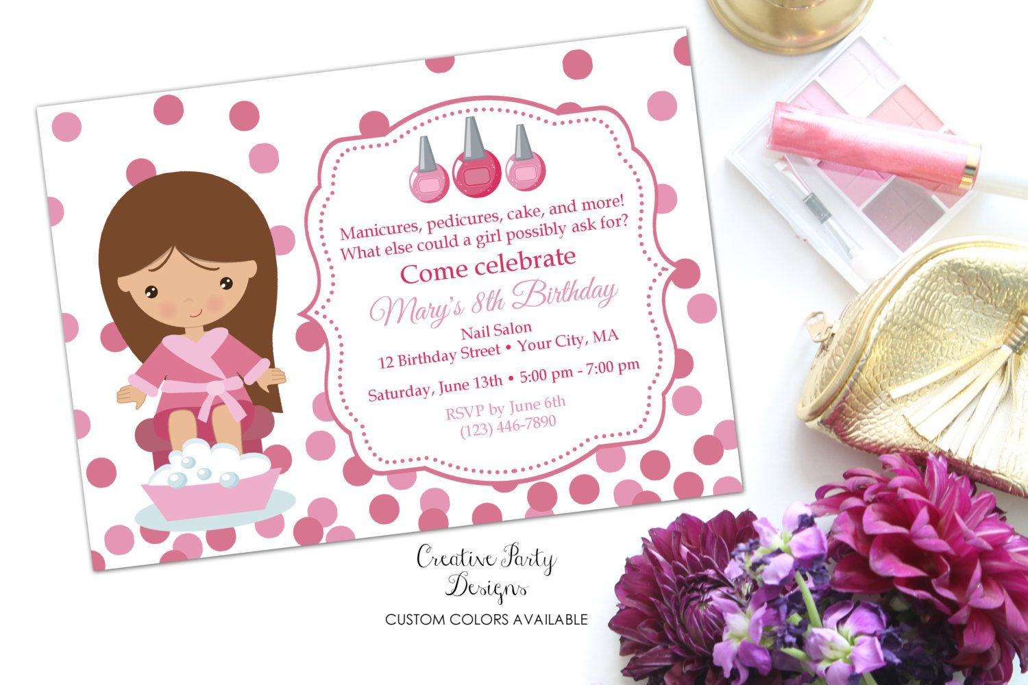 Girls Nail Party Invitation - Nail Birthday Invite - Manicure ...