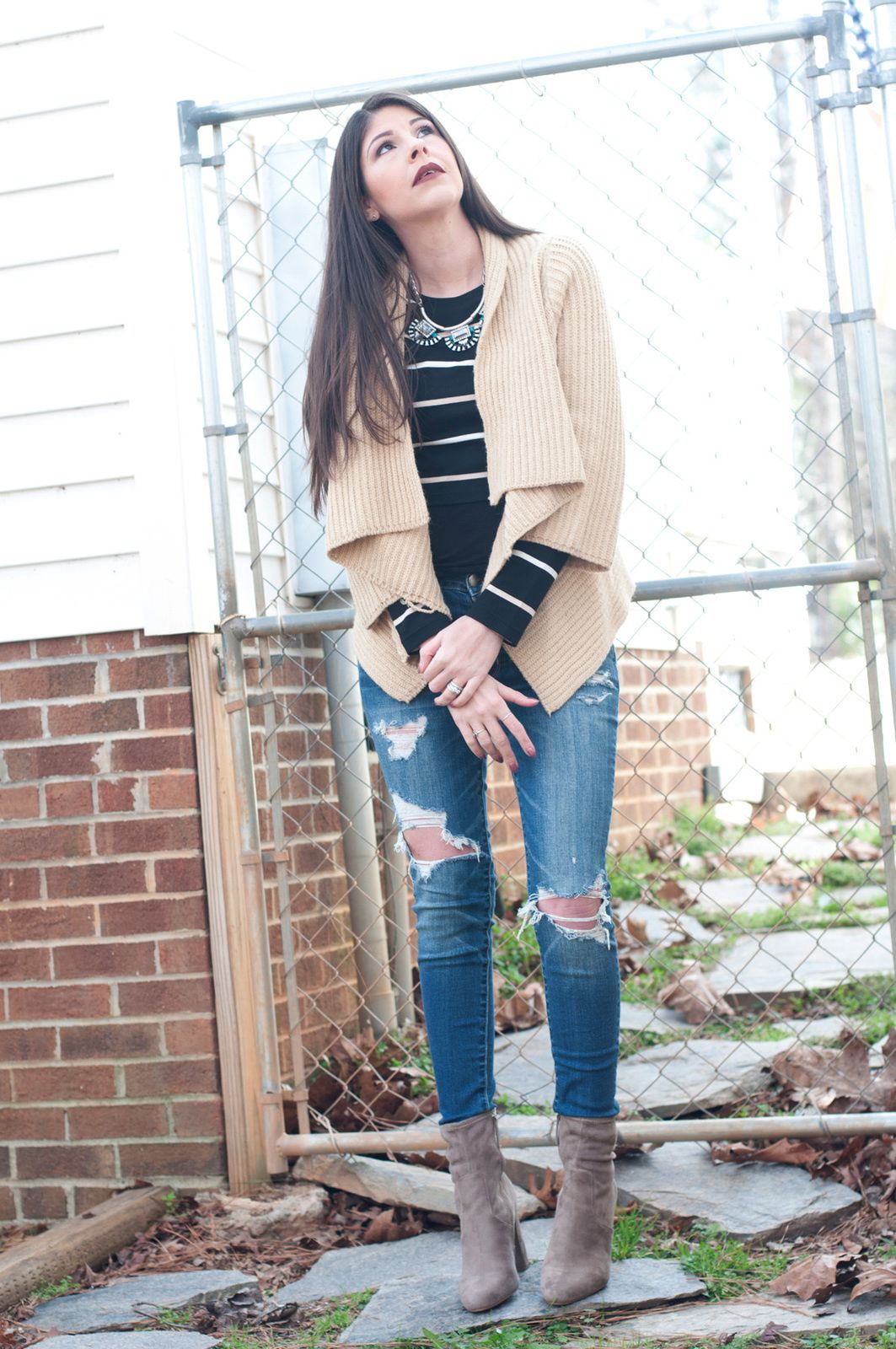 Stripes & Cream | Outfit of the Day Steve Madden Edit Boots, Ripped Jeans