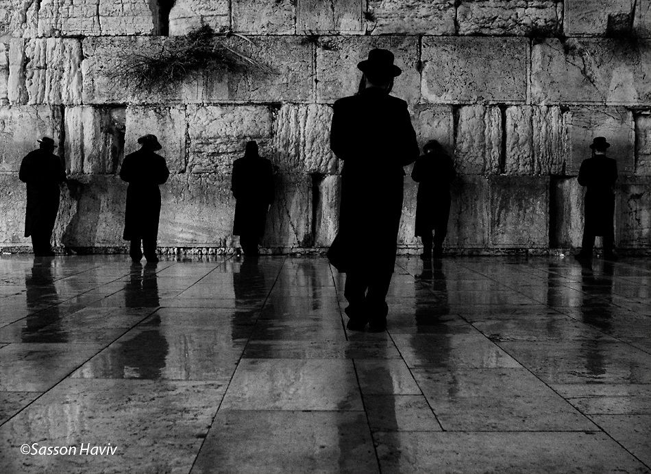 Jewish men praying at the wailing wall jerusalem israel