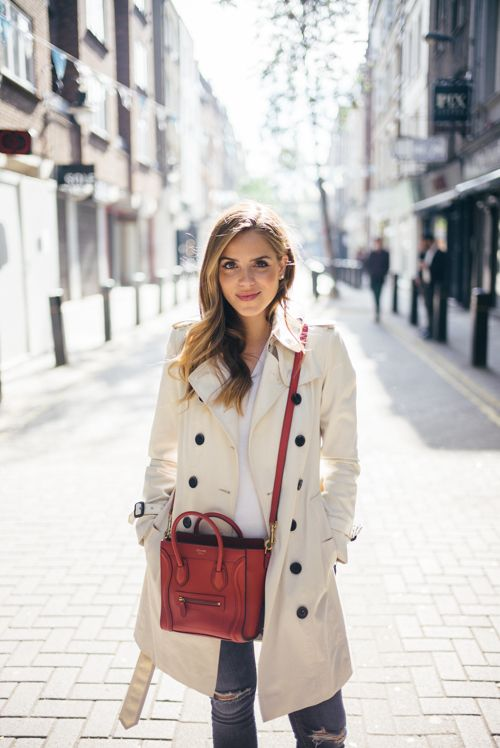 5584764c4015 classic trench with a pop of color to dress up the casual look. Red Celine  Nano Bag