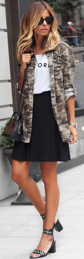 #fall #trending #outfits | Camo Jacket + Black and White