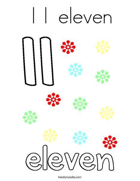 11 Eleven Coloring Page Twisty Noodle Coloring Pages Mini Books Color