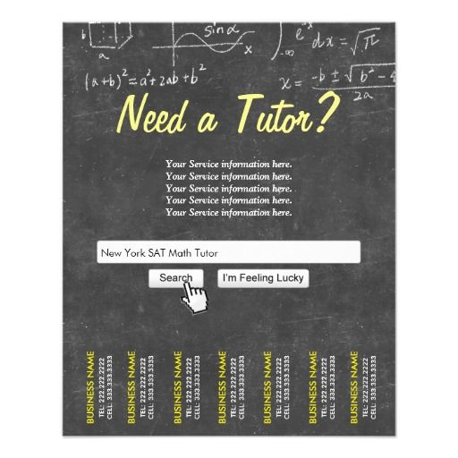 Professional Chalkboard Search Bar Math Tutor Personalized Flyer