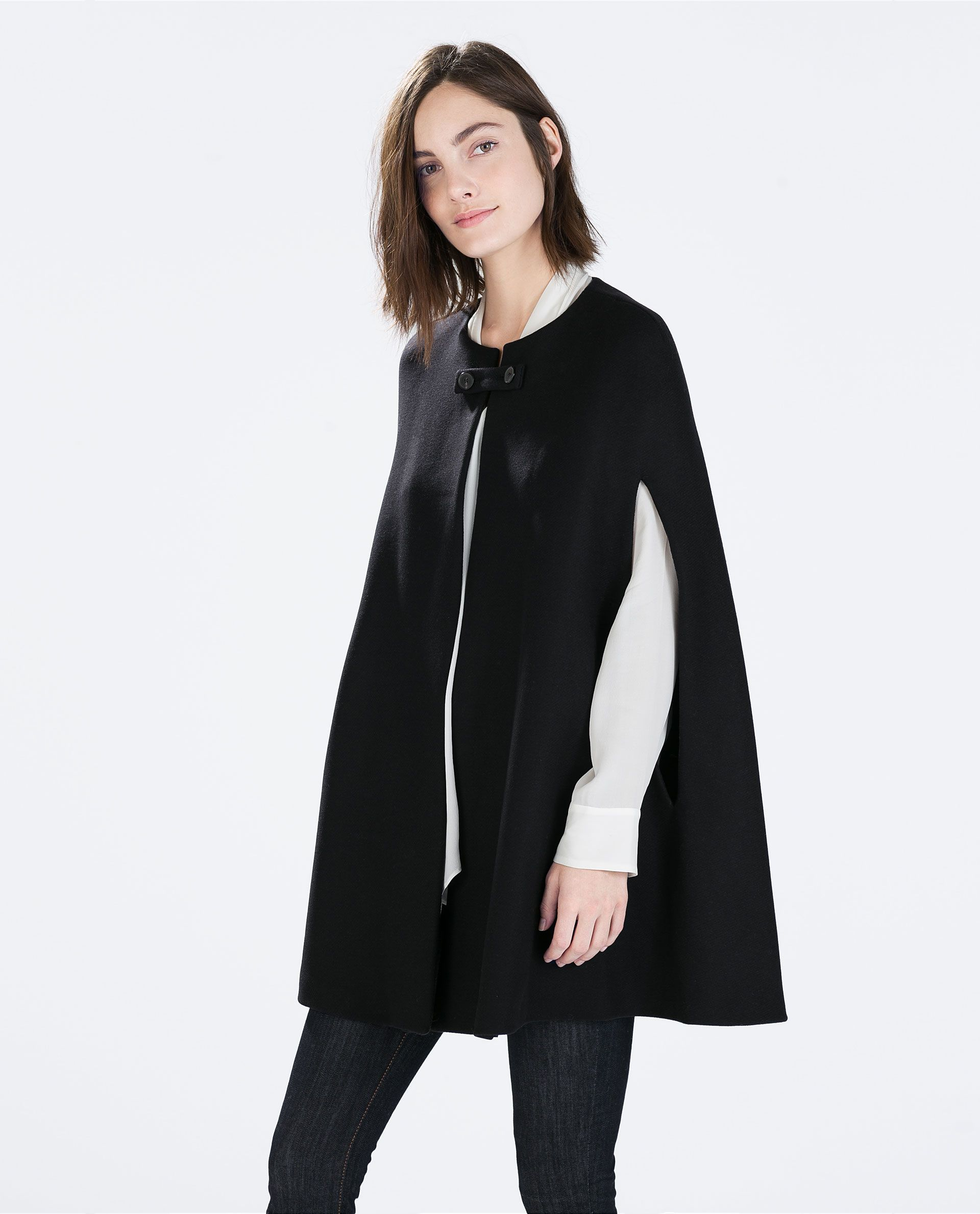 Image 2 of BUTTONED CAPE COAT from Zara | Wardrobe Rehaul ...