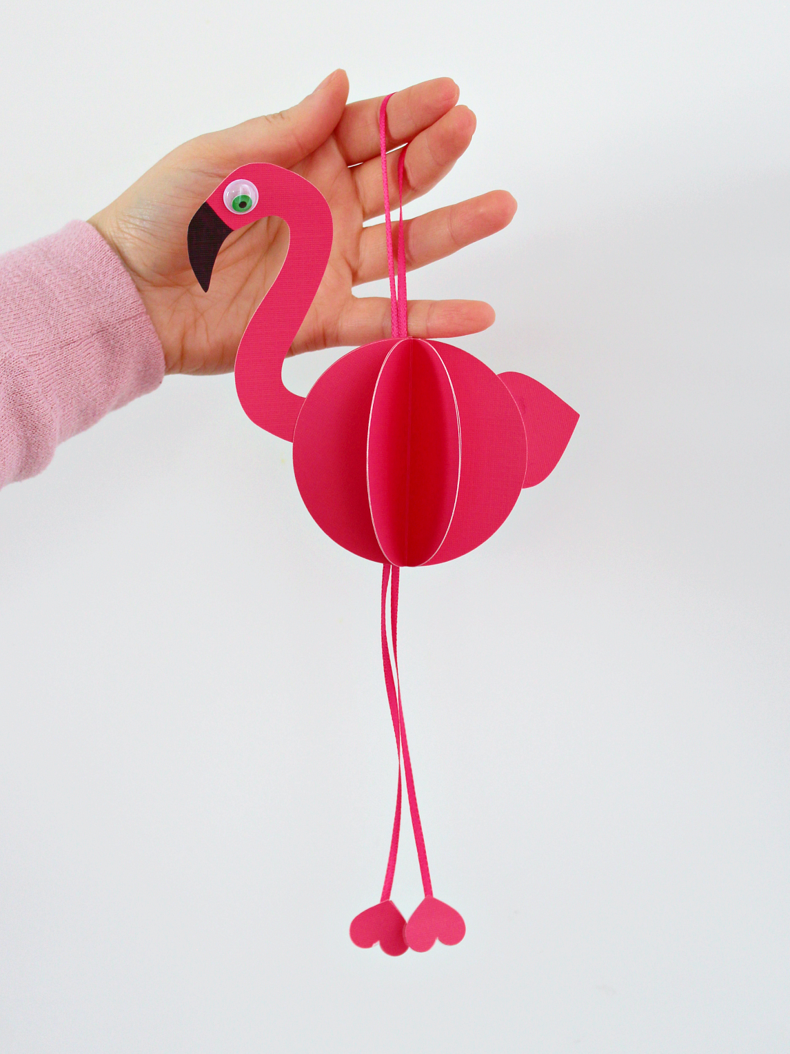 3D PAPER FLAMINGO ORNAMENTS (WITH FREE CUT FILE)