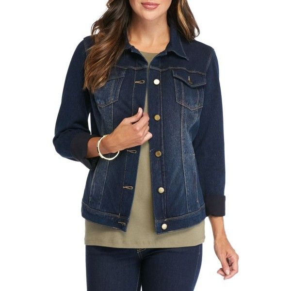 Bandolino Night Fall Button Front Jean Jacket - Women's ($54) ❤ liked on Polyvore featuring outerwear, jackets, night fall, blue denim jacket, long jacket, blue jackets, bandolino and long denim jacket