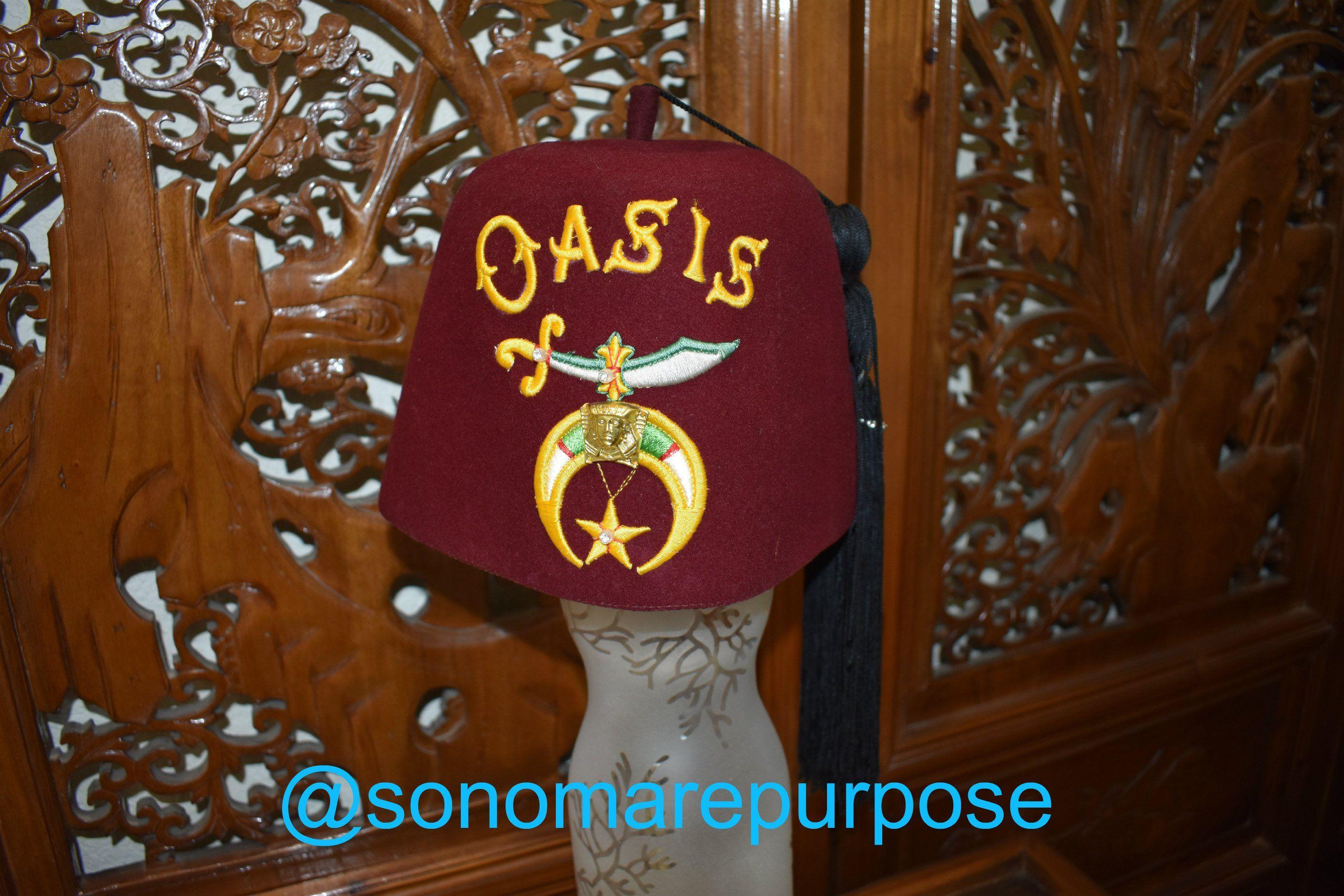 7fadea227 Vintage Oasis Masonic Shriner Fez Hat, Lou-Walt of New York, Shriner ...