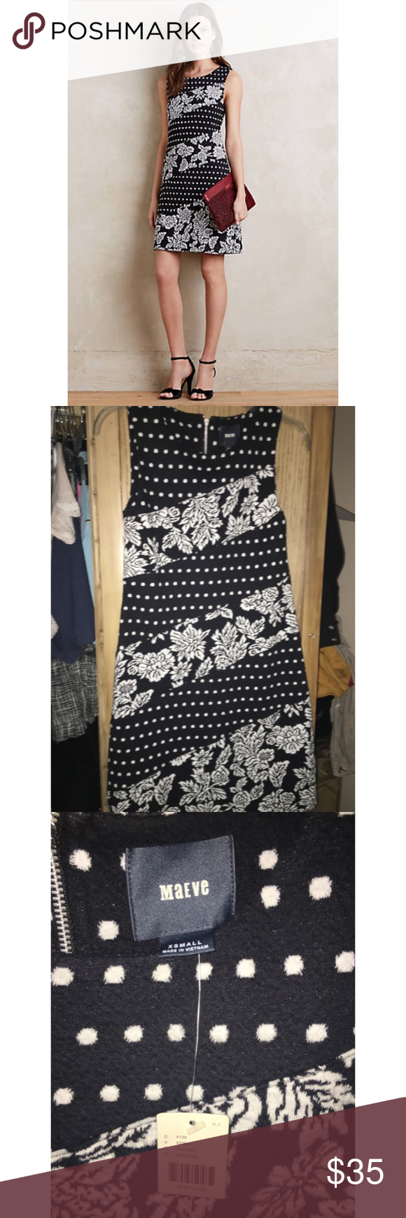"""NWT Anthropologie Effemy Jacquard Shift dress Never worn / Anthropologie Effemy Jacquard Shift black & white dress /   DETAILS:  Cotton, polyester, spandex; rayon lining Shift silhouette Back zip Machine wash Imported Style No. 4130336419680 Dimensions Regular falls 35.25"""" from shoulder Petite falls 33.5"""" from shoulder Model Notes: Model is 5'9"""" / this dress is size XS - no trades Anthropologie Dresses"""