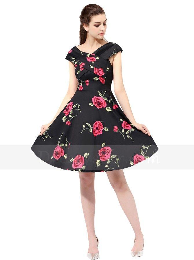 Damen 50er Vintage Rockabilly Party Kleider Abendkleider ...