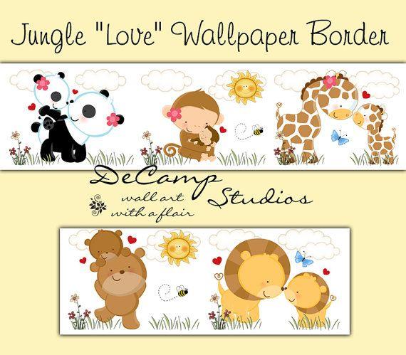 Cute Jungle Animal Love Wallpaper Border Wall Decals For Baby Girl Or Boy Nursery Or Children S Safari Room Material Para Scrapbook Desenhos Decoracao Escola