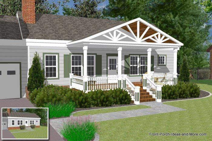 Great Front Porch Designs Illustrator On A Basic Ranch Home Design
