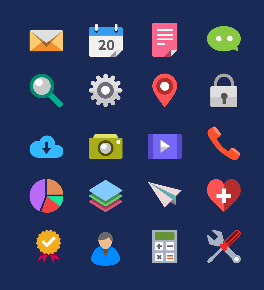 Download 20 Flat Icons Vector PSD GraphicsFuel.com | License ...