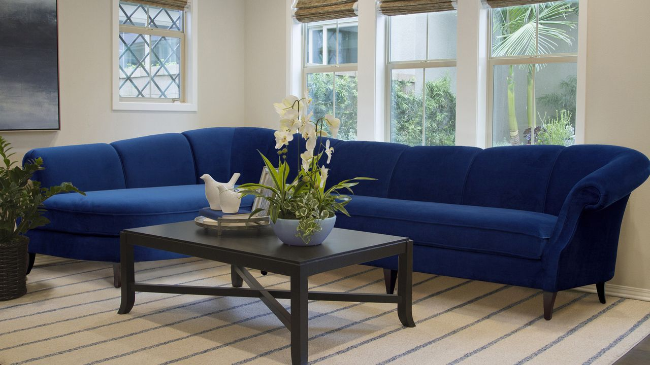 Terrific Victoria Upholstered Left Sectional Sofa Navy Blue The Alphanode Cool Chair Designs And Ideas Alphanodeonline