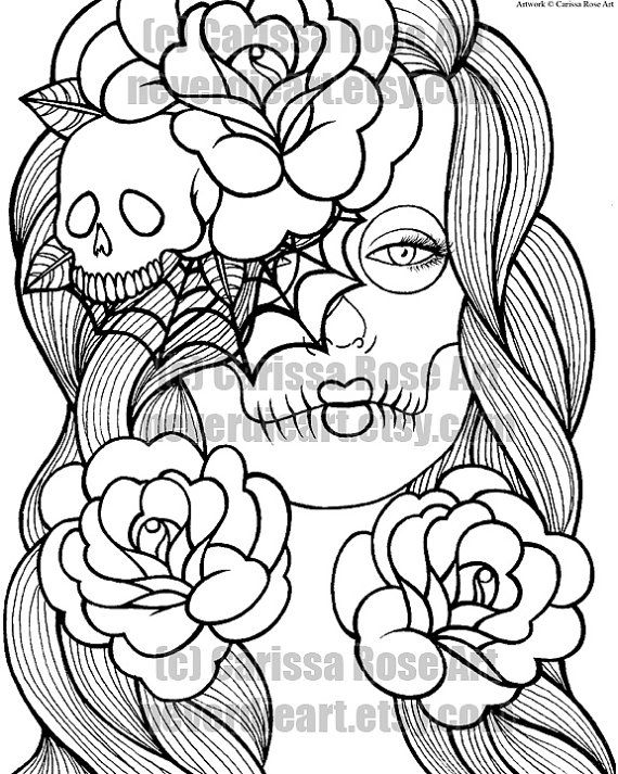 digital download print your own coloring book outline page - wash ... - Coloring Pages Roses Skulls