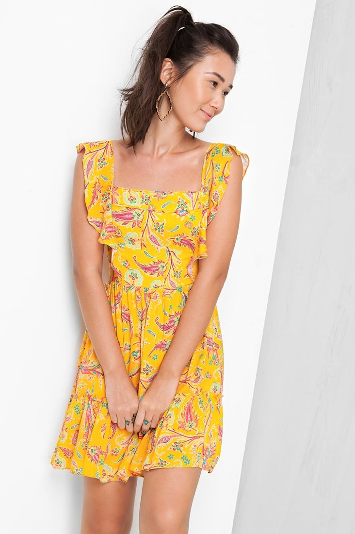 e44b704ca vestido decote estampado naomi Vestido De Viscose Curto, Vestido Longo  Amarelo, Vestido Decote Costas