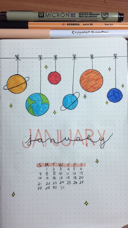 bullet journal ideas; months