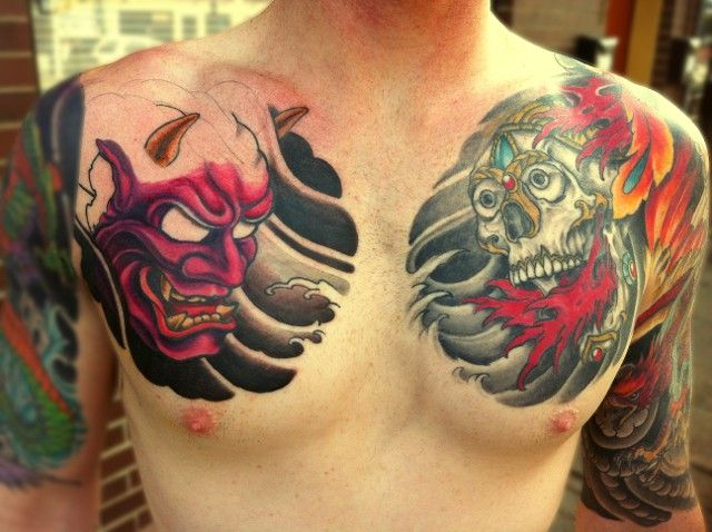 Hannya mask chest google search tattoo ideas for Hannya mask tattoo