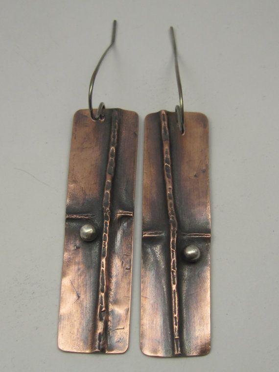 Mixed Metal Rectangular Fold formed Earrings, Not Matching