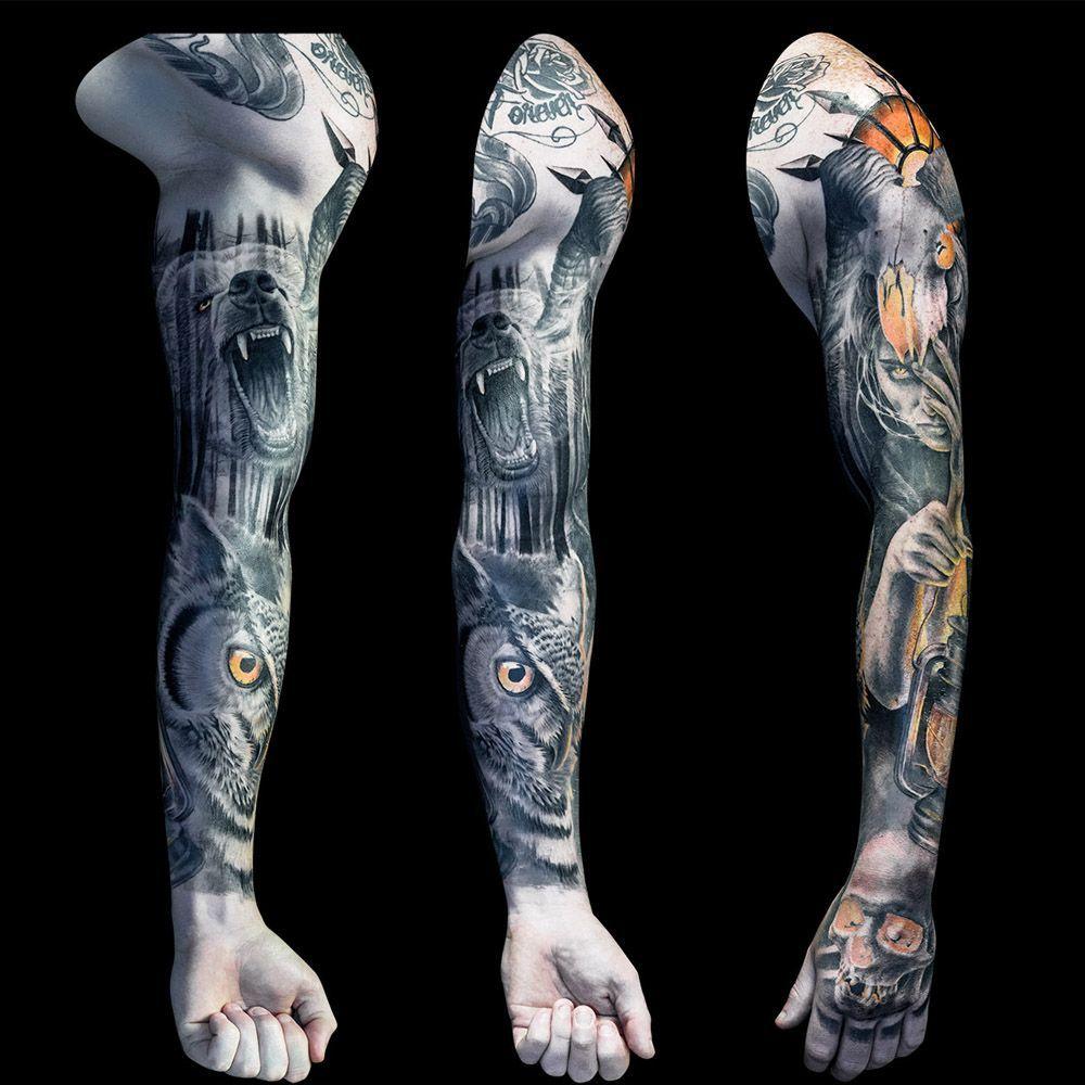 Evil Forest full sleeve tattoo for men part 1 by Steve