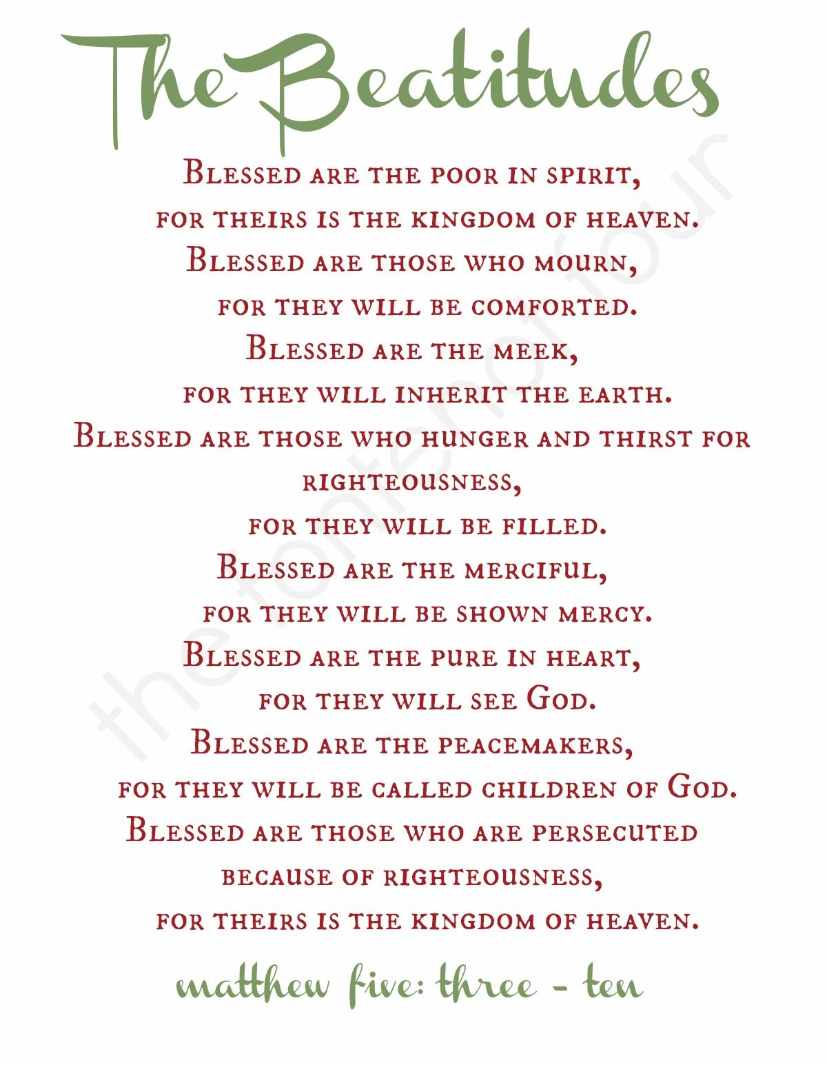 The Beatitudes The Fontenot Four The Daniel Fast