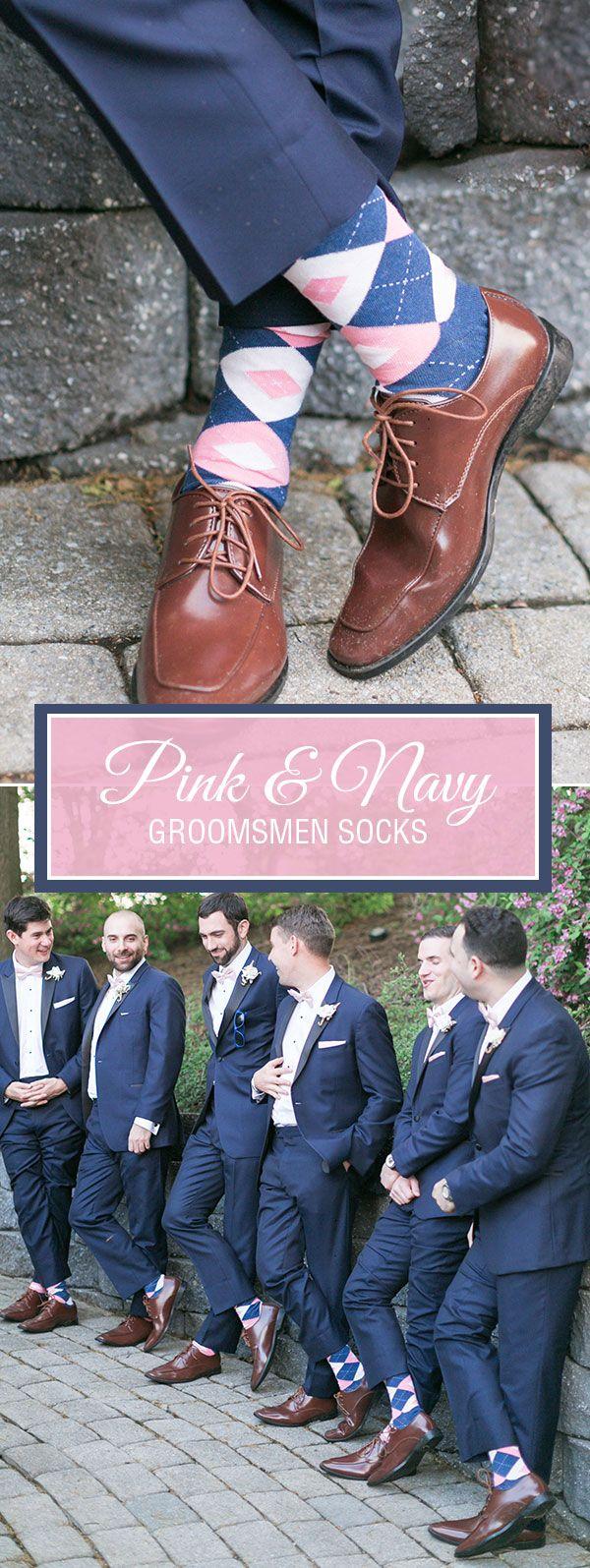 Flamingo Petal Pink Navy Argyle Wedding Groomsmen Men S