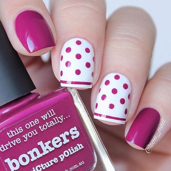 30 Adorable Polka Dots Nail Designs Uñas Uñas De