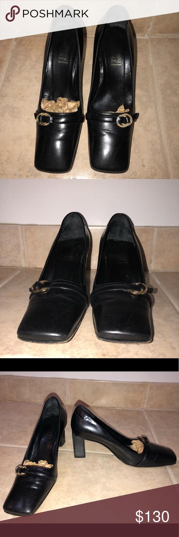 Vintage Gianni Versace Vero Cuoio Square Toe Heels Versace Shoes Versace Heels Square Toe Heels