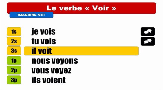 Chapter 7- Conjugation of the verb voir French final project