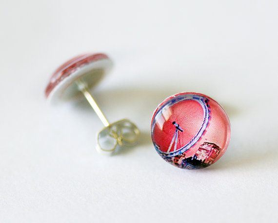 Pink London Eye Glass Dome Stud Earrings by HConwayPhotography, $14.50