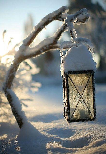 Lantern in the snow...
