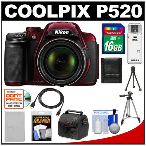 Nikon Coolpix P520 Gps Digital Camera Red With 16gb Card Battery Case Tripods Hdmi Cable Accessory Kit Http Www Digitalcameraoptics Com Nikon Co
