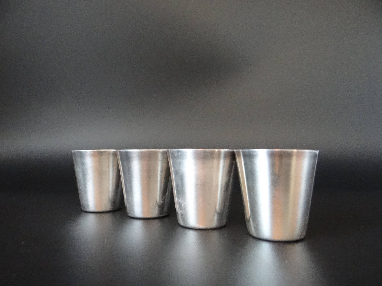 Beautiful Set Of 4 Vintage Silverplate Cocktail Jiggers With Brushed Metal Interior U2013 Elegant  Barware U2013 Mid