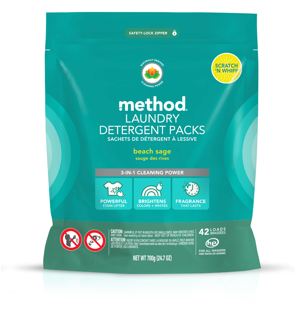 Method Laundry Detergent Packs In Beach Sage Fight Tough Stains