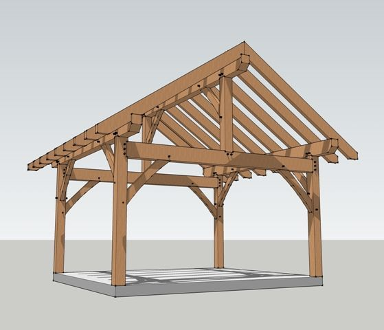 16x16 timber frame plan wooden gazebo backyard and patios for Metal frame pergola designs