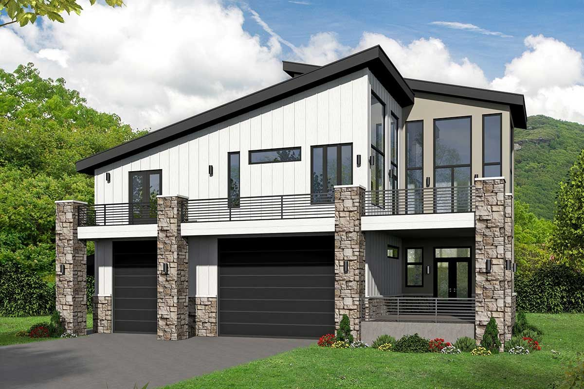Plan 68618vr Unique Modern House Plan With An Rv Bay Carriage House Plans House Plans Architectural Design House Plans