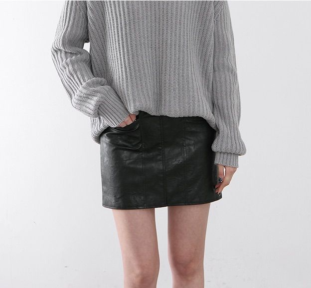 Sweater with leather skirt