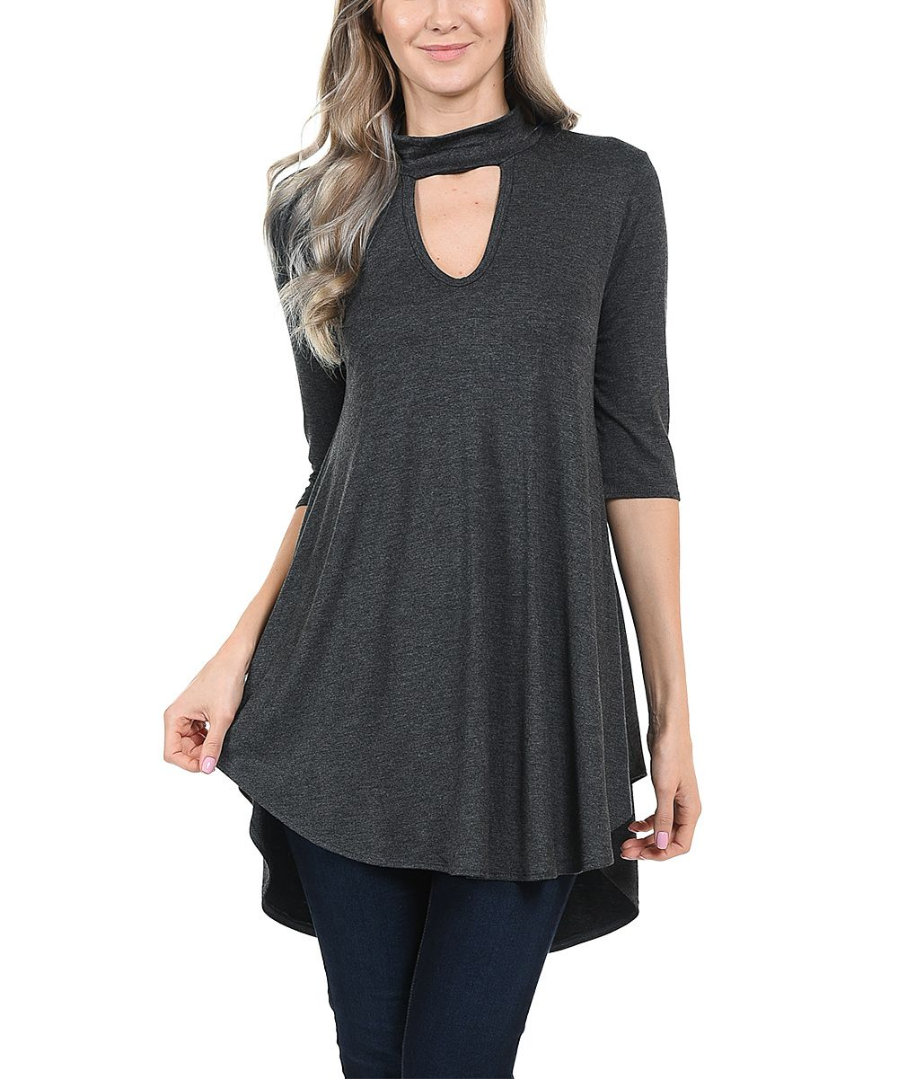 Charcoal Keyhole Hi-Low Tunic - Plus