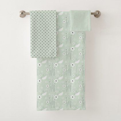 Light Blue Floral And Polka Dots Bath Towel Set Bath Towel Sets - Floral bath towels for small bathroom ideas