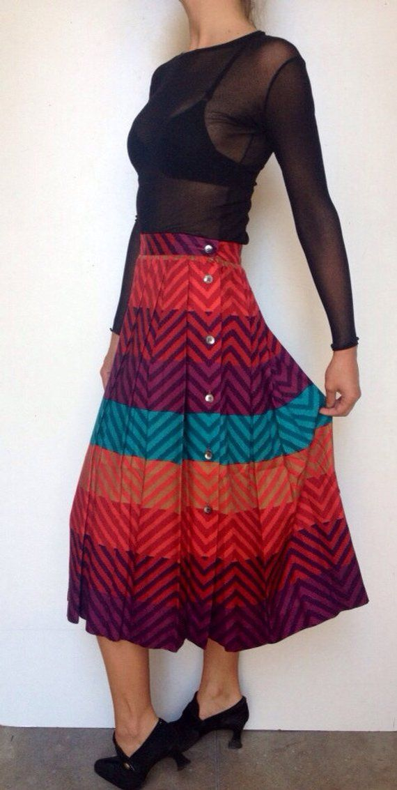 35842555eff6 Vintage 80's // Rainbow Chevron // High Waist Yuppie Chic Pleat Skirt