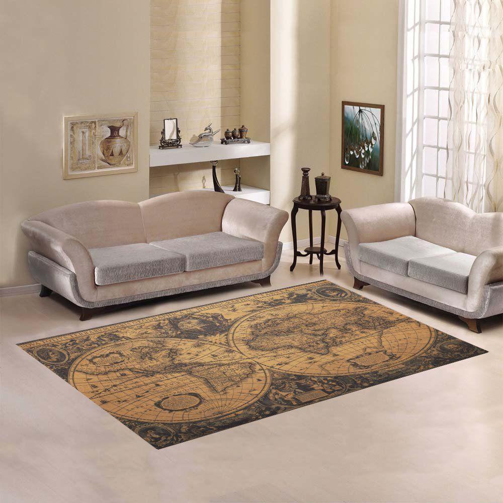 Dstory Home Decor Retro World Map Indoor Area Rug Carpet 7'x5 Interesting Dining Room Carpet Protector Design Ideas