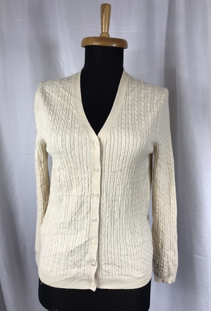 Brooks Brothers 346 Silk Cashmere Fine Cable Knit Cream Cardigan ...
